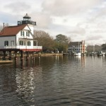 The Roanoke River Lighthouse with the Barker House in the background