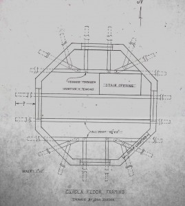 Fig. 11. Cupola floor framing plan by Don Jordan