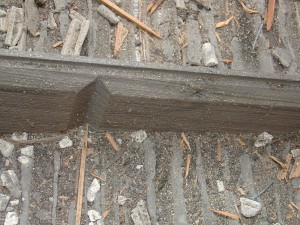 Fig. 7.  Close-up of rusticated siding in south porch ceiling - photo courtesy Don Jordan and Peter Post.