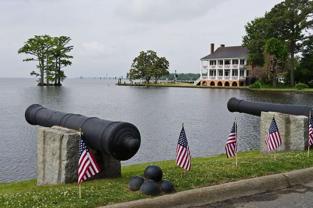 Cannons with Penelope Barker House in background